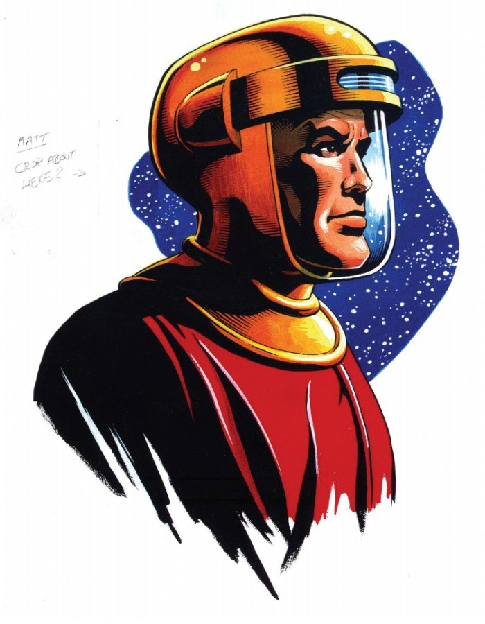 "Garry Leach Dan Dare. Designer Matt Bookman commissioned this for the Radio Times radio listings section, after Robot had bitten the dust. ""When I commissioned this, the Dan Dare Corporation had just bought the character and Cohn Frewin had approval,"" Matt recalls. ""I sent a copy to Rod Barzilay in the late 1990s as a thank you for sending me copies of his Dan Dare strip. Later on, he put it in the first issue of Spaceship Away."""