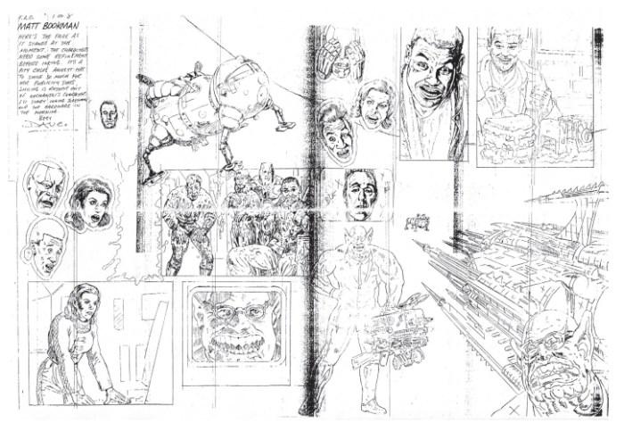 Red Dwarf pencils in progress by David Pugh