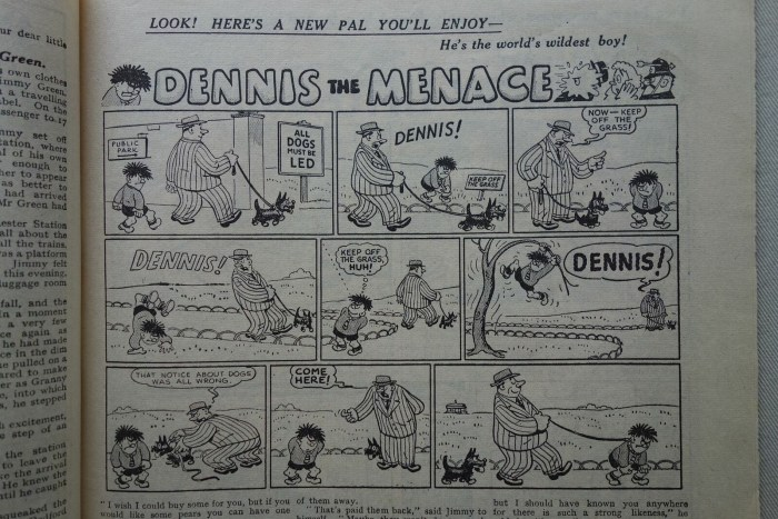 The first appearance of Dennis the Menace in The Beano, cover dated 17th March 1951. Art by David Law