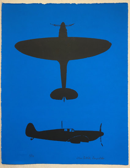 The Spitfire, silhouetted against blue. No1. (48cms x 38cms)