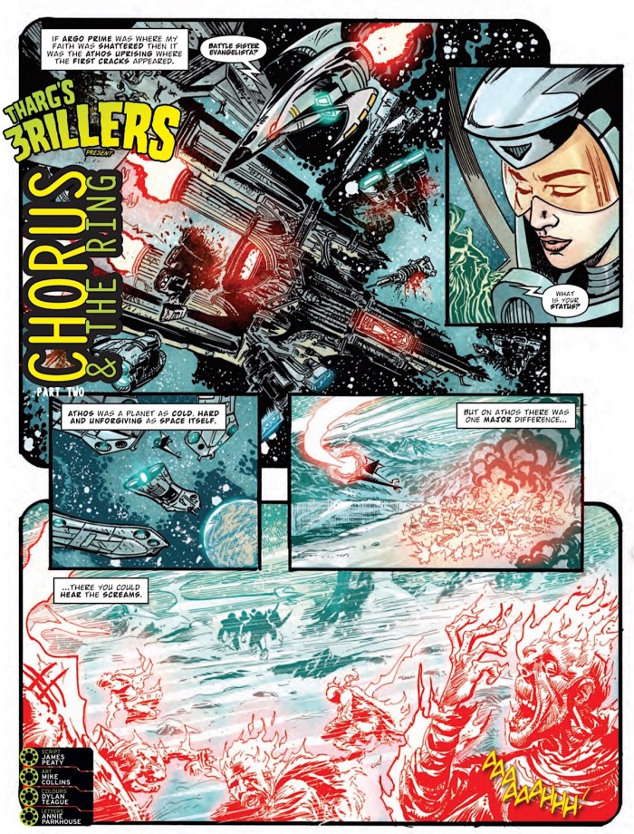 2000AD Prog 2227 - Tharg's 3rillers: Chorus & The Ring, art by Mike Collins