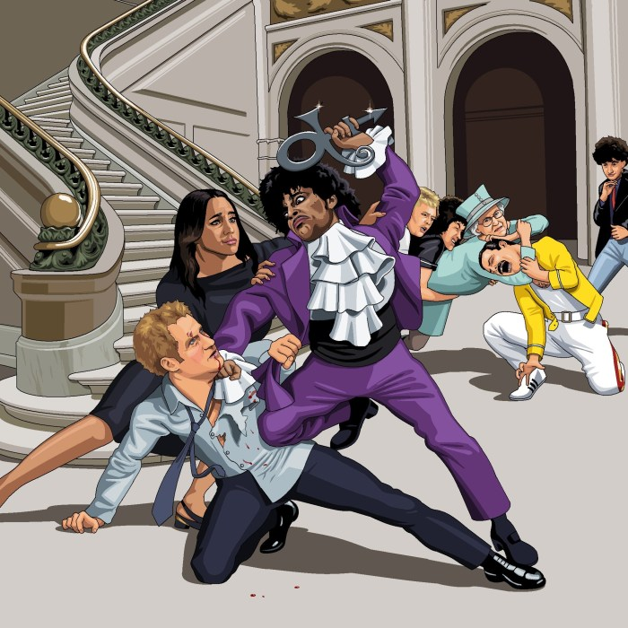The Artist Formerly Known As Prince having a fight with Prince Harry over who is least known as Prince now. In the background we can see the The Queen, and Queen (the band) also fighting over a similar thing. Requested by Lee Wheeler