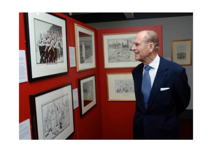 Prince Philip, the Duke of Edinburgh, at the opening of the Giles exhibition at the Cartoon Museum in 1994. Image courtesy The Cartoon Museum