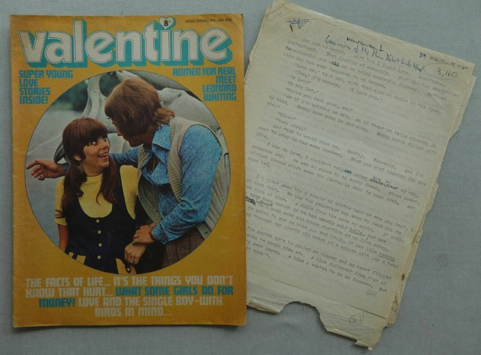 Valentine magazine, cover dated 10th January 1970, complete with a script for one of its strips, written by Valerie Harman
