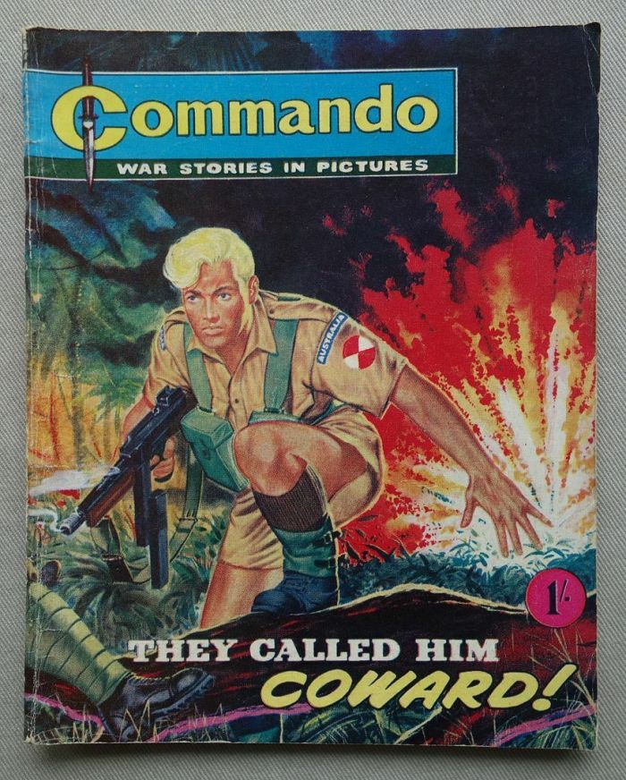 """Commando No. 2, """"They Called Him Coward"""", published in 1962. Cover by Ken Barr. Story by Eric Castle, with art by Armando Bonato"""