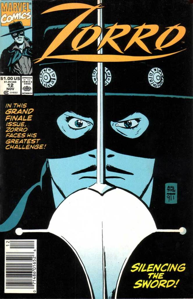 Marvel's Zorro: New World #12 with a cover by Alex Toth