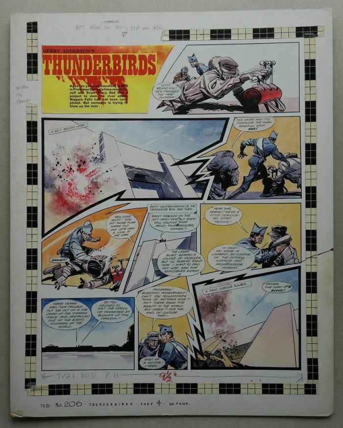 """A single page of original """"Thunderbirds"""" artwork, drawn and painted by Frank Bellamy, for TV21 206, cover dated 28th December 1968, the first page of the strip in this edition, but Part 4 in the overall time travel story. The art board measures 47 x 37.5 (18.5 x 14.75 inches)"""