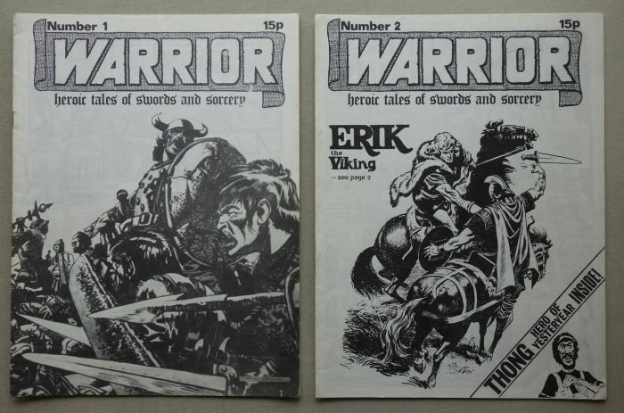 """The first two issues of Dez Skinn's Warrior comic fanzine, published in 1974, long before he published his Warrior comic anthology, offering a variety of strips in black and white including reprints of """"Heros the Spartan"""" and """"Wrath of the Gods"""". This item comes from the personal collection of the late comic artist, Jim Baikie, who sadly passed away in December 2017"""