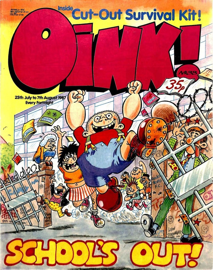 Controversial character Tim Thug, created by Lew Stringer, dominates this Oink! cover, its 'sunset' look the result of a leak in the Oink! office roof, which damaged the art!