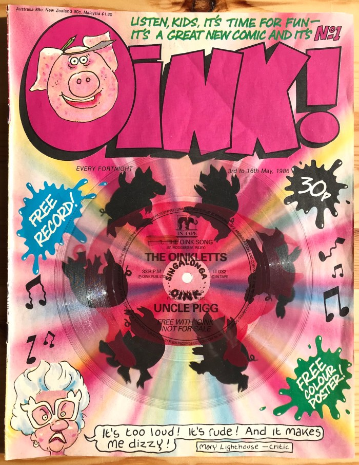 Oink! Issue One, with free flexi disc. Image with thanks to Phil Boyce