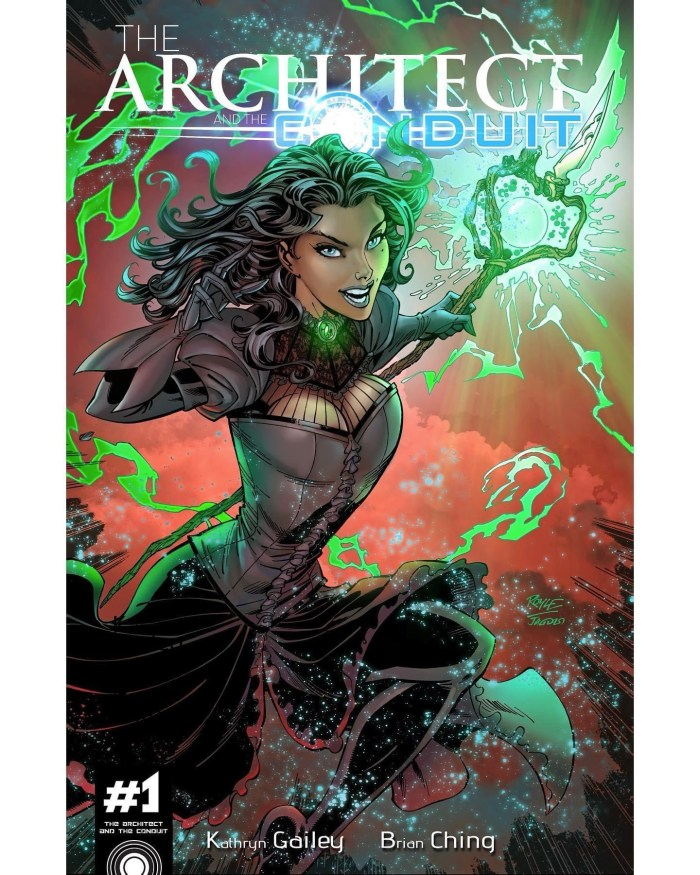 Jon's variant cover for the crowdfunded project The Architect and The Conduit, from up and coming writer Kathryn Gailey and DC Comics Superstar, Brian Ching - in a mirroring worlds of magic
