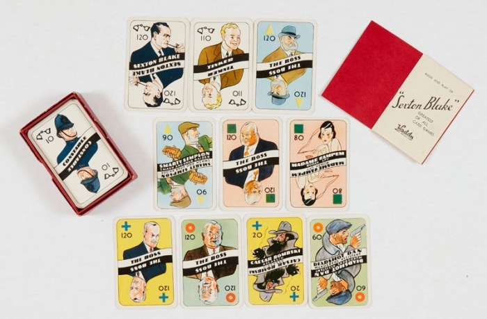 Sexton Blake Card Game (1920s) Waddingtons. With original box, rules and complete 60 card set. Box [vg], cards as new