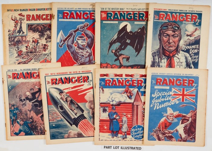 The Ranger (1933-35) 1-112 last issue including Special Jubilee Number. Bright covers, cream pages, rusty disintegrated staples