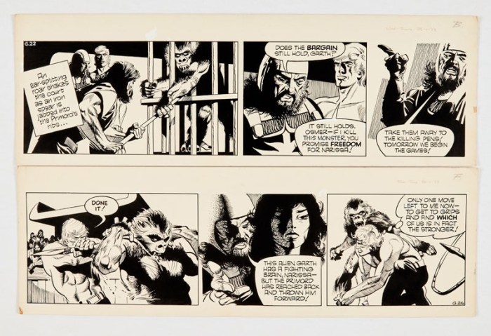 Garth: 'The Beast of Ultor' two original artworks (1973) by Frank Bellamy for the Daily Mirror 25/30 January 1973. Indian ink on board. 21 x 17 ins (x2)