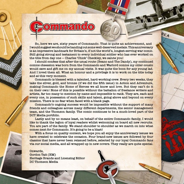 Current Commando editor Gordon Tait's anniversary message to the troops. Sorry, readers!