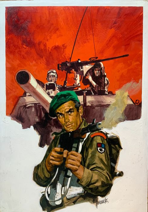 World War Two original painting - cover - by Fernando Fernández (1970s)