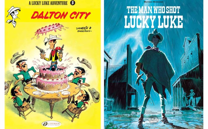 Side by side: Lucky Luke - Dalton City, published by Cinebook and The Man Who Shot Lucky Luke, published by Europe Comics