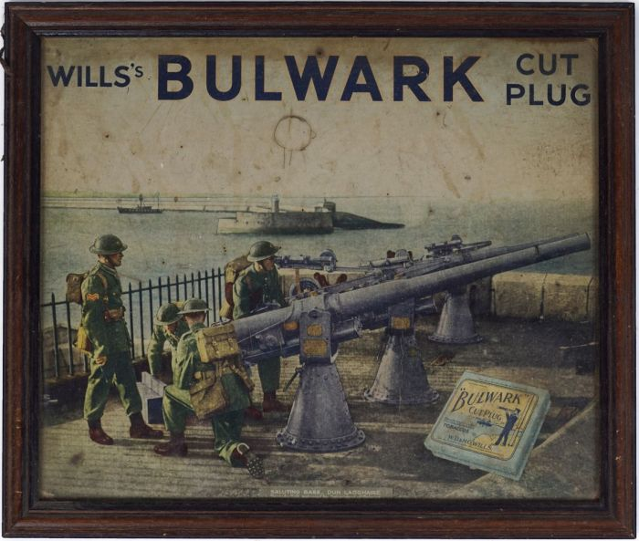 Wills's Bulwark Cut Plug poster saluting Base Dun Laoghaire Reproduction Approved by Department of Defence