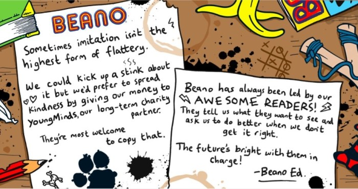 BEANO response to recent critique and parody of its editorial changes 2021