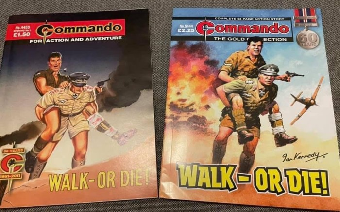 The recently-released Issue 5444 alongside a copy of Commando Number One