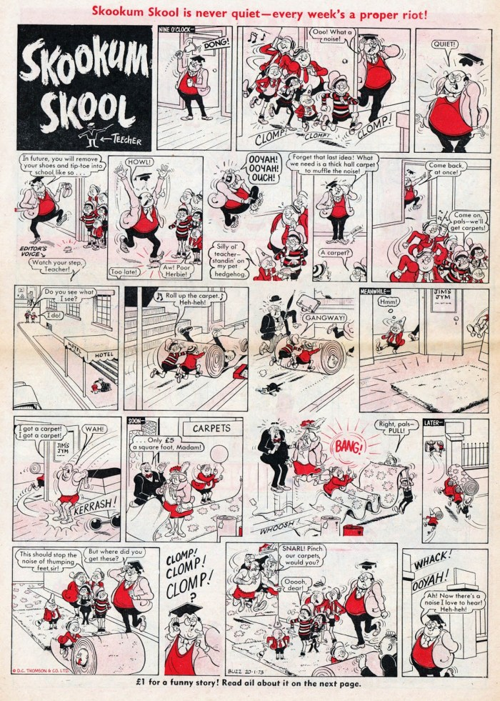 """""""Skookum School"""" from the first issue of Buzz, cover dated 20th January 1973. With thanks to Lew Stringer"""