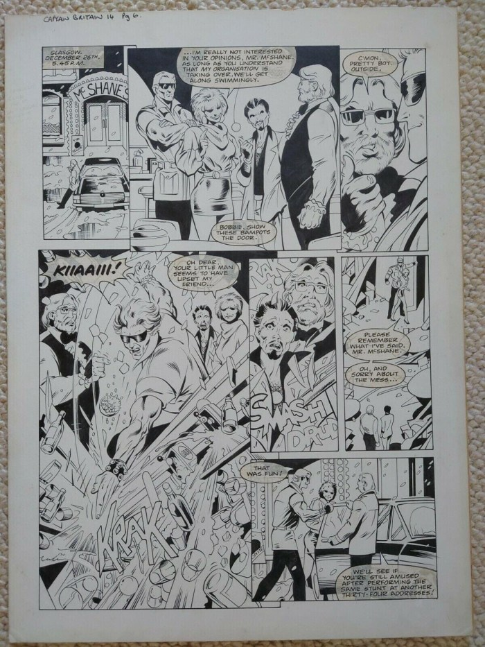 """A page from the Captain Britain story """"Should Auld Acquaintance"""" written and drawn by Alan Davis, inked by Mark Farmer and lettered by Annie Halfacree (Annie Parkhouse)"""