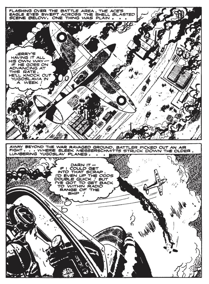 """A page from the Battler Britton story, """"Wagons of Gold"""", art by Hugo Pratt"""