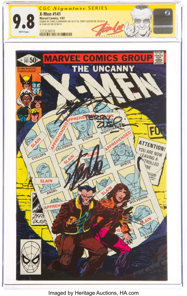 """X-Men #141 Signature Series CGC NM/MT 9.8, Part one of the """"Days of Future Past"""" storyline signed by Lee,  Claremont and Terry Austin"""
