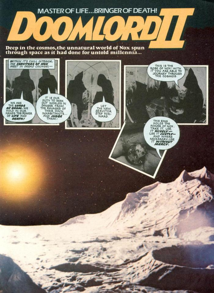 """The opening page of the second """"Doomlord"""" story to feature in Eagle, in Issue 21, cover dated 14th August 1982. The impressive alien landscape was created by Julian Baum"""