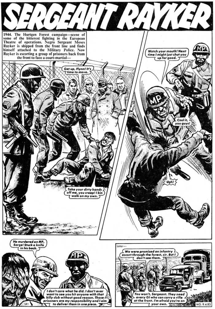 """Calum would love to have a crack at some of DC Thomson's classic characters, such as Warlord's """"Sergeant Rayker"""", seen in action here from the issue cover dated 9th April 1983. Art by Mike Dorey"""