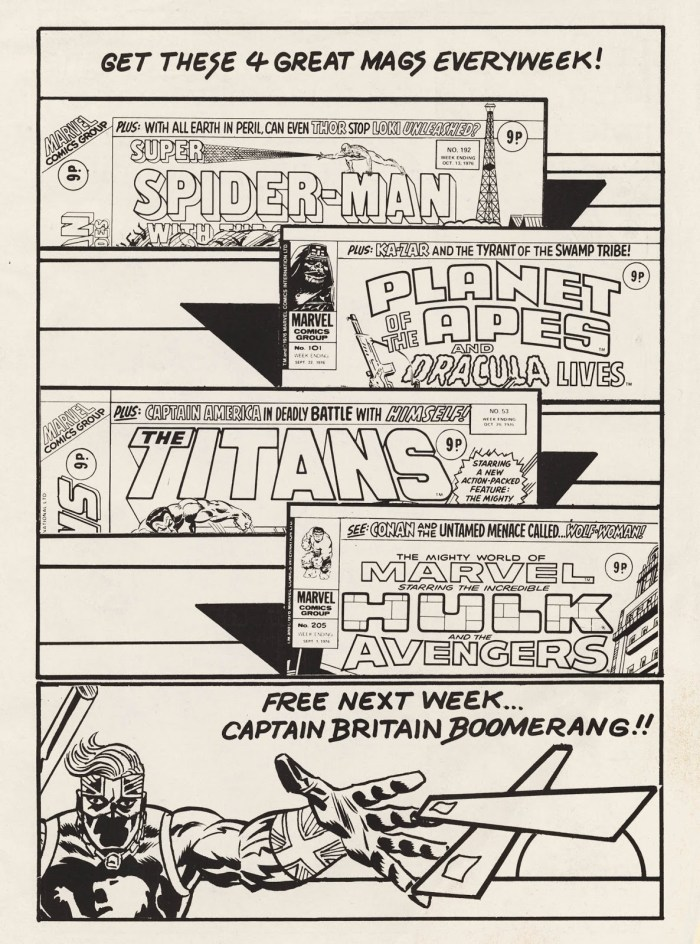Marvel UK's line-up of weekly titles in 1976, as advertised in Captain Britain #1