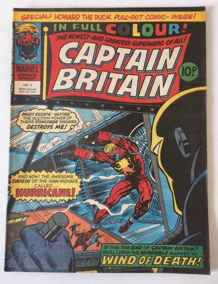 """Captain Britain #7 saw Britain's first """"homegrown"""" Marvel hero battle Hurricane, a villain revived by John Freeman and Dave Taylor in Gene Dogs, a limited series published by Marvel UK in the 1990s"""