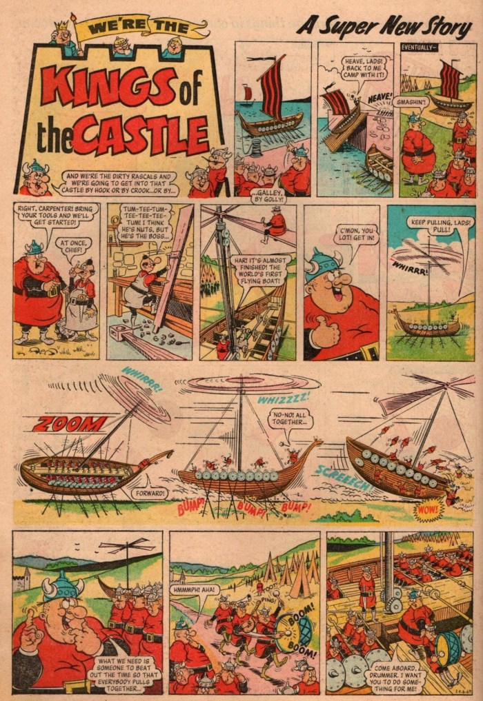 """The opening page of the first """"Kings of the Castle"""" story from Sparky No. 230, cover dated 14th June 1969, """"Kings of the Castle"""", drawn by Ken Harrison,  replaced """"Wyatt Twerp"""" in the centre, full colour pages. This first series lasted 31 issues to No 260. It would return in 1970. With thanks to Alan Smith"""