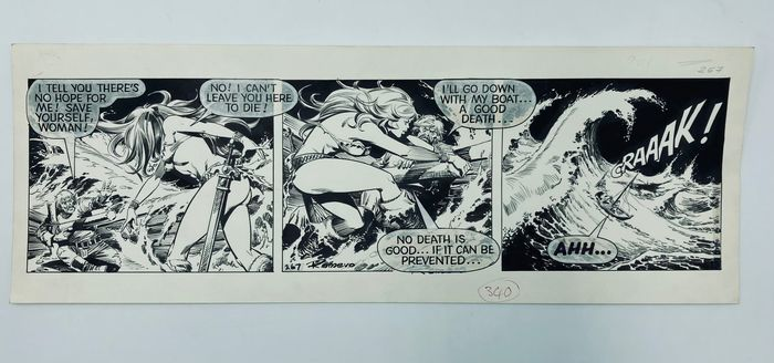 An original Axa comic strip by Romero from 1979. Indian ink on pencil, on cardboard paper, with notes indicating it was intended for use in The Sun on 29th May 1979