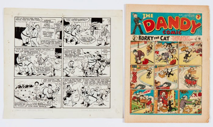 Addie and Hermy original artwork by Sam Fair (1940) with Dandy 137 (Jul 13 1940). Propaganda war issue from which it comes. Der big prize for winning der horse race is Der Big Feed so Addie and Hermy rocket to first place but der big Feed is for the horse - Der Oats! Indian ink on cartridge paper 12 x 11 ins, Dandy Comic is [vg]