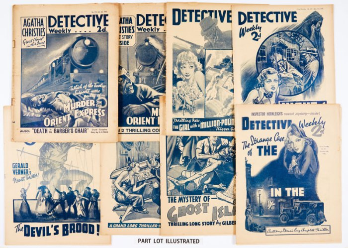 Detective Weekly (1935) 124-129: Agatha Christie's Murder on The Orient Express complete in 6 episodes With Detective Weekly (1938) 254-306 complete year with 21 Sexton Blake stories, Night of Dread by John Creasey, The Black Dagger Crimes by Edwy Searles Brooks and The Devil's Brood with cover art by Reginald Heade