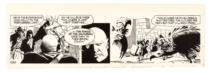 Garth: 'Bride of Jenghiz Khan' original signed artwork (1974) by Frank Bellamy for the Daily Mirror 6th November 1974. Indian ink on board. 21 x 17 ins