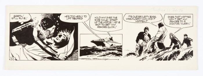 Garth: 'The Beautiful People' signed original artwork (1976) by Frank Bellamy for the Daily Mirror 11 February 1976. Indian ink on board. 21 x 17 ins