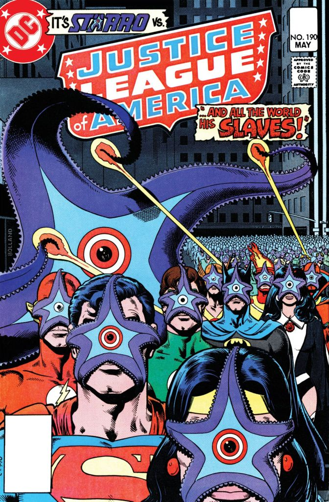 Brian Bolland's memorable cover for Justice League of America Volume 1 #190 (1981), assisted by Anthony Tollin