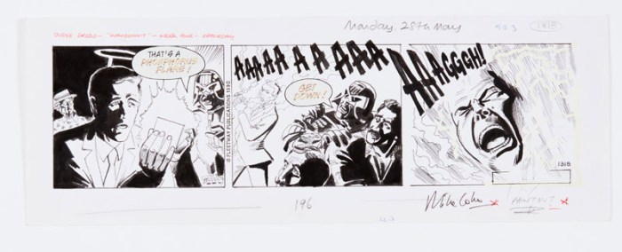 Judge Dredd 'Whodunnit' newspaper strip (1990) original art, drawn and signed by Mike Collins for the Daily Star 28 May 1990. Indian ink on cartridge paper. 16 x 6 ins