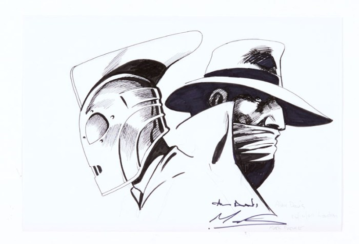 Rocketeer and Shadow original sketch (2011 London) drawn and signed by Alan Davis and Mark Farmer. Black marker pen on paper 8 x 12 ins