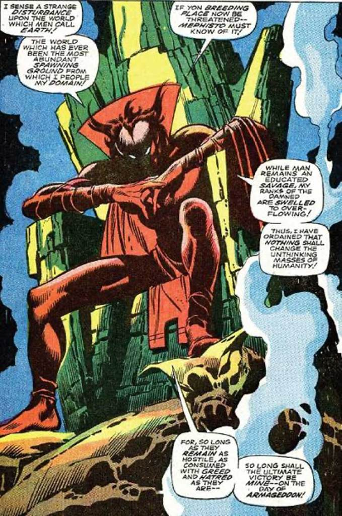 A panel from Mephisto's debut in Silver Surfer #3. Art by John Buscema © Marvel