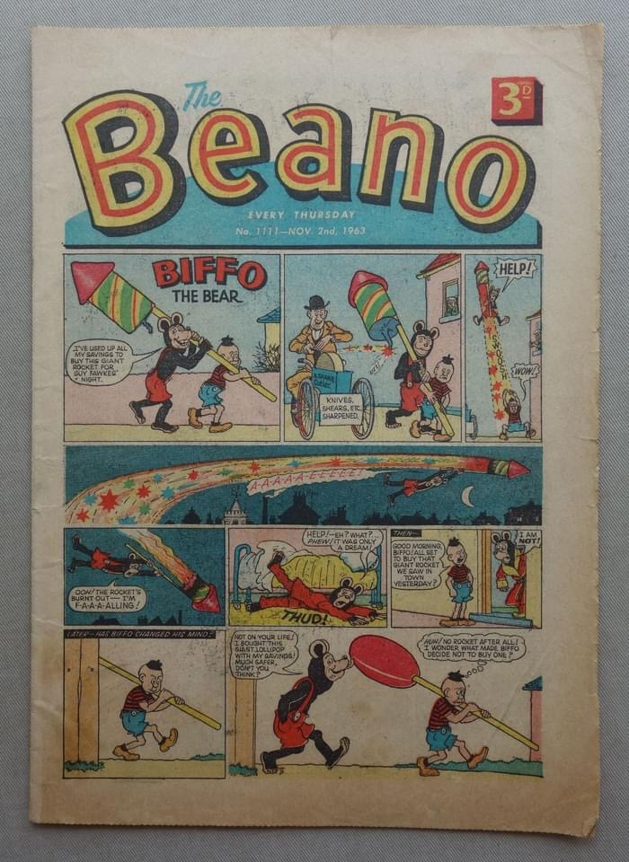 Beano No. 1111 - fireworks issue, cover dated 2nd November 1963