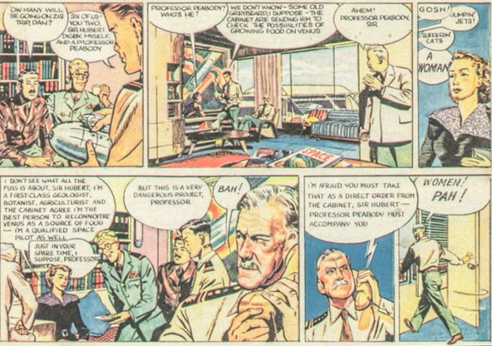 Professor Peabody's first appearance in the Eagle comic, as she joins Dan Dare's team (Vol. 1 No 5 1950)