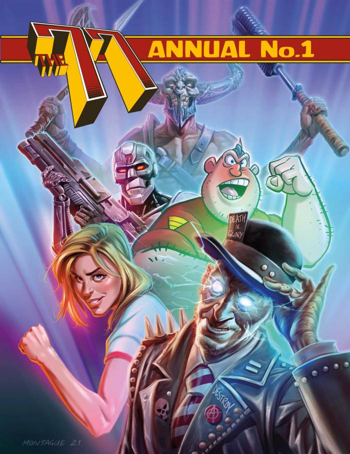 Mark Montague's original artwork for the Kickstarter hardback edition. The Kickstarter hardback edition cover by Mark Montague. Credits: featuring (back) Ba'al created by Steve Bull & Ade Hughes (middle left) Shard from Division'77 by Dave Heeley and Sinclair Elliott, (right) Sgt. Shouty! by Lew Stringer (bottom left), Penny Pentagram by David Thomas & Jonny Roydon, (right) Benksy by Ben Conan Cullis & Neil Sims.