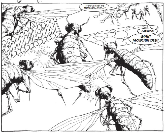 """Si Spurrier penned """"Zancudo"""" a """"sort of"""" sequel to """"Ant Wars"""" for Judge Dredd Megazine, with art by Cam Kennedy"""
