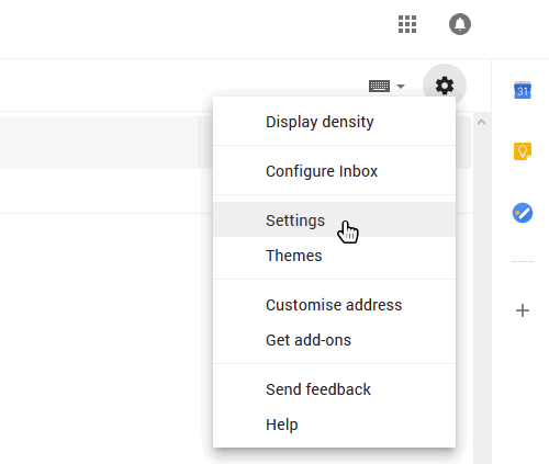 select Gmail settings