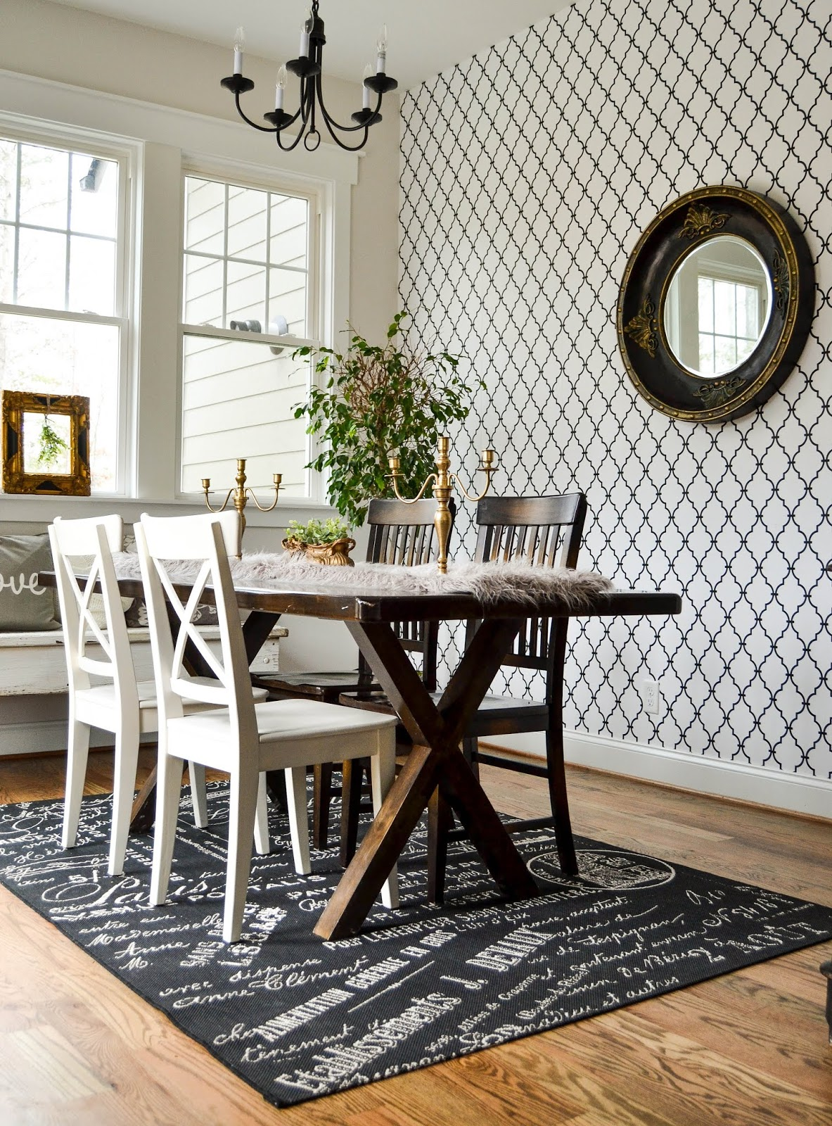 Wallpaper Accent in the Dining Room | Down to Earth Style