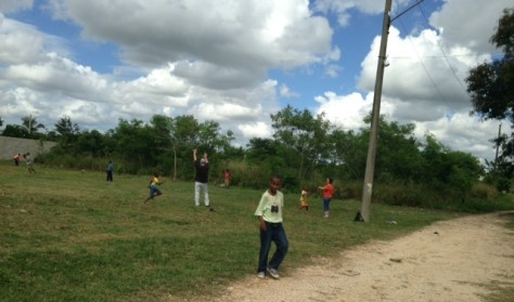 Jay and another volunteer play baseball with the boys at Remar orphanage