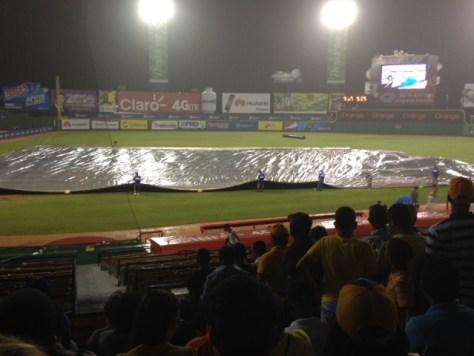 Rain delays the game